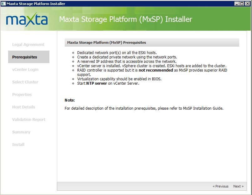 Maxta Installation Prerequisites