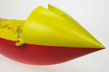 The painted nose of the Vulture 2, with its yellow upper and led underside