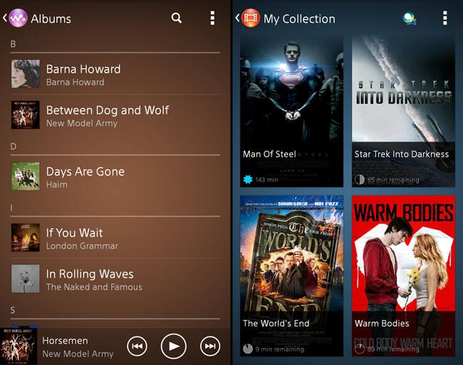 Sony Xperia Z1 media apps