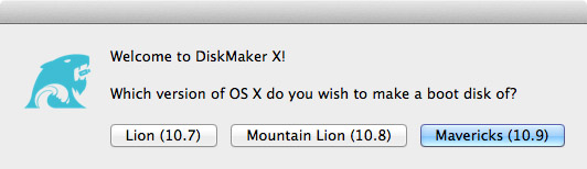 DiskmakerX application allows you to choose an OS X installer