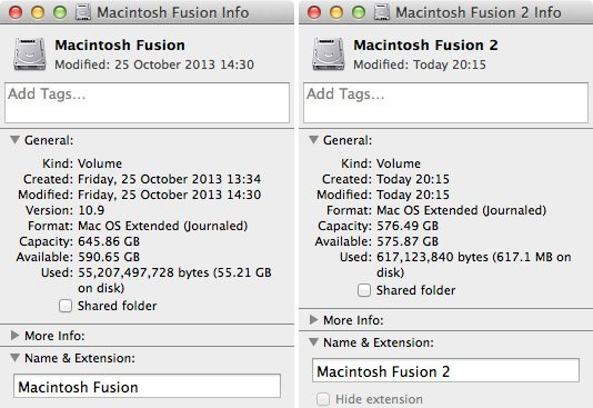 Fusion drive after partitioning