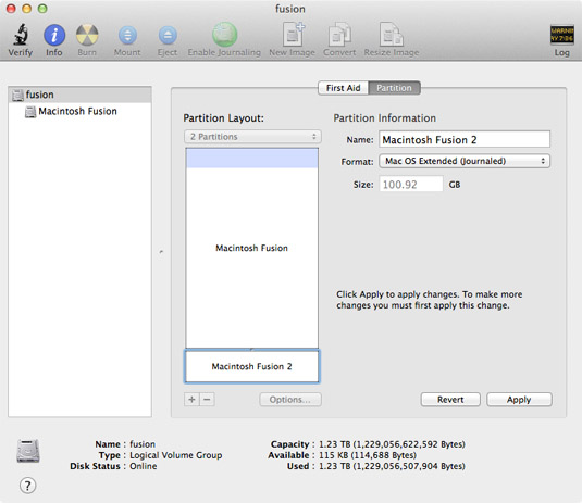 Fusion drive partitioning