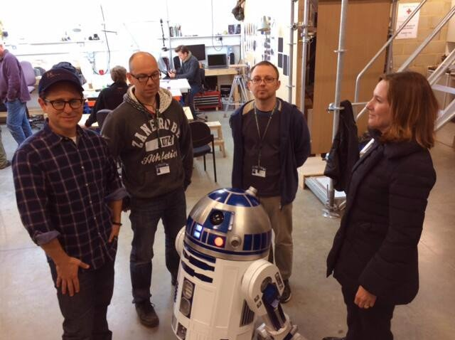JJ Abrams, Protection Towersey, Oliver Steeples, Kathleen Kennedy and R2-D2