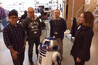JJ Abrams, Lee Towersey, Oliver Steeples, Kathleen Kennedy and R2-D2