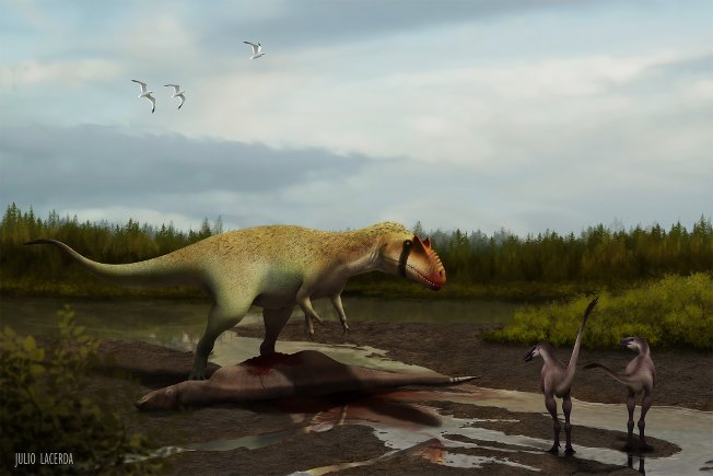 Siats eating an iguanodontian and intimidating early, small-bodied tyrannosauroids.