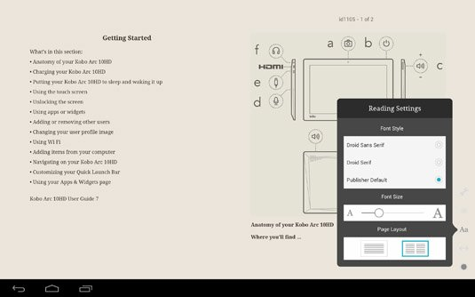 Calibre converted Kobo manual on-screen