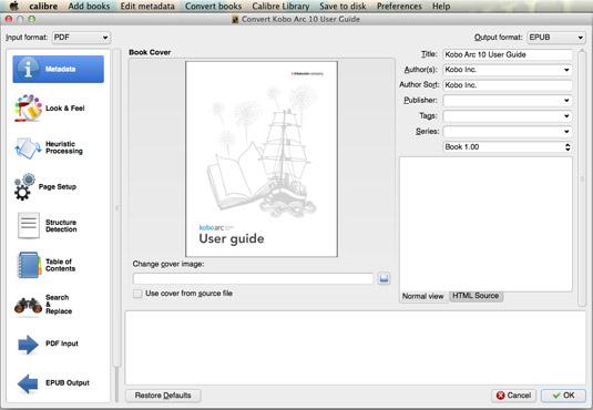 Calibre converts the Kobo PDF manual to ePUB