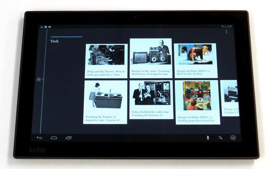 Kobo Arc 10HD Android tablet Collection populated with web page favourites