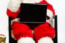 Santa Claus on his laptop