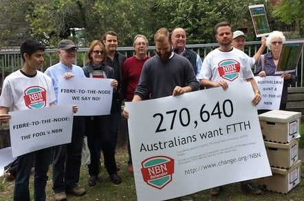 Ten protestors at the NBN Day of Action