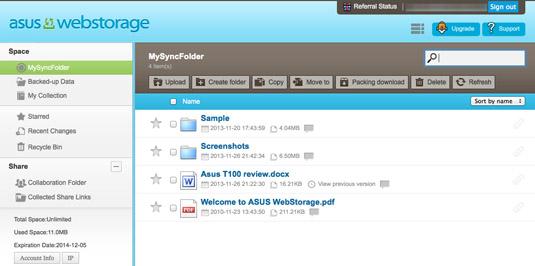 Asus WebStorage account web page