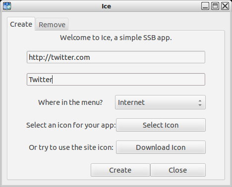 Peppermint OS' Ice single-site browser creation tool