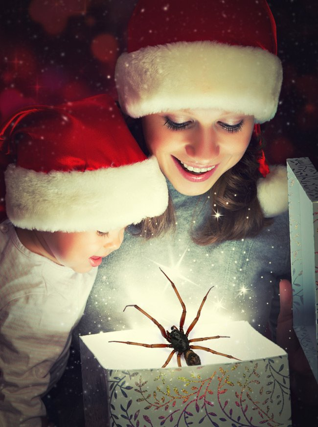 Two kids watching a really big spider emerging from a present