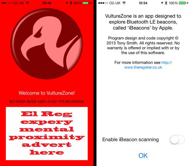 El Reg's iBeacon app