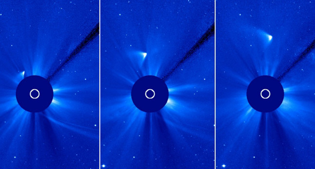 SOHO images showing a trail around the Sun, which may be the remains of Comet Ison