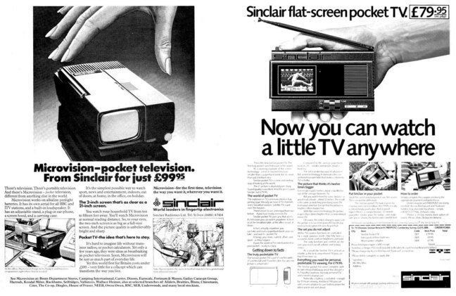 Sinclair Microvision ads