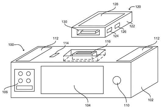 Apple patent illustration for 'Smart Dock for Activating a Voice Recognition Mode of a Portable Electronic Device'