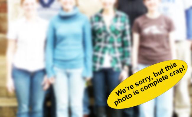 Blurred photo with photo lab advisory sticker