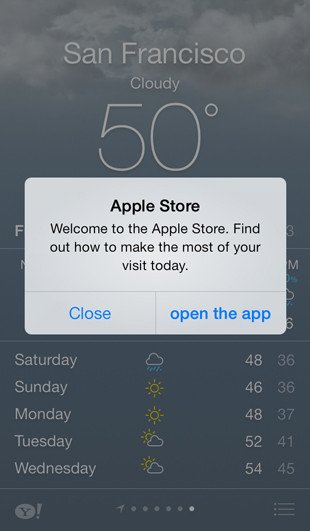 iOS 7 Apple Store app: welcome badge