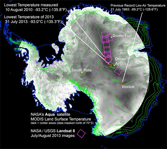 Map of satellite images of coldest spot observations. Pic: NASA
