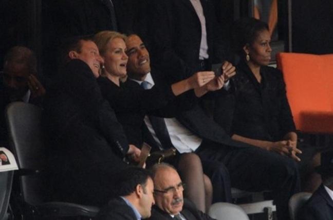 President Obama takes selfie at Nelson mandela's funeral