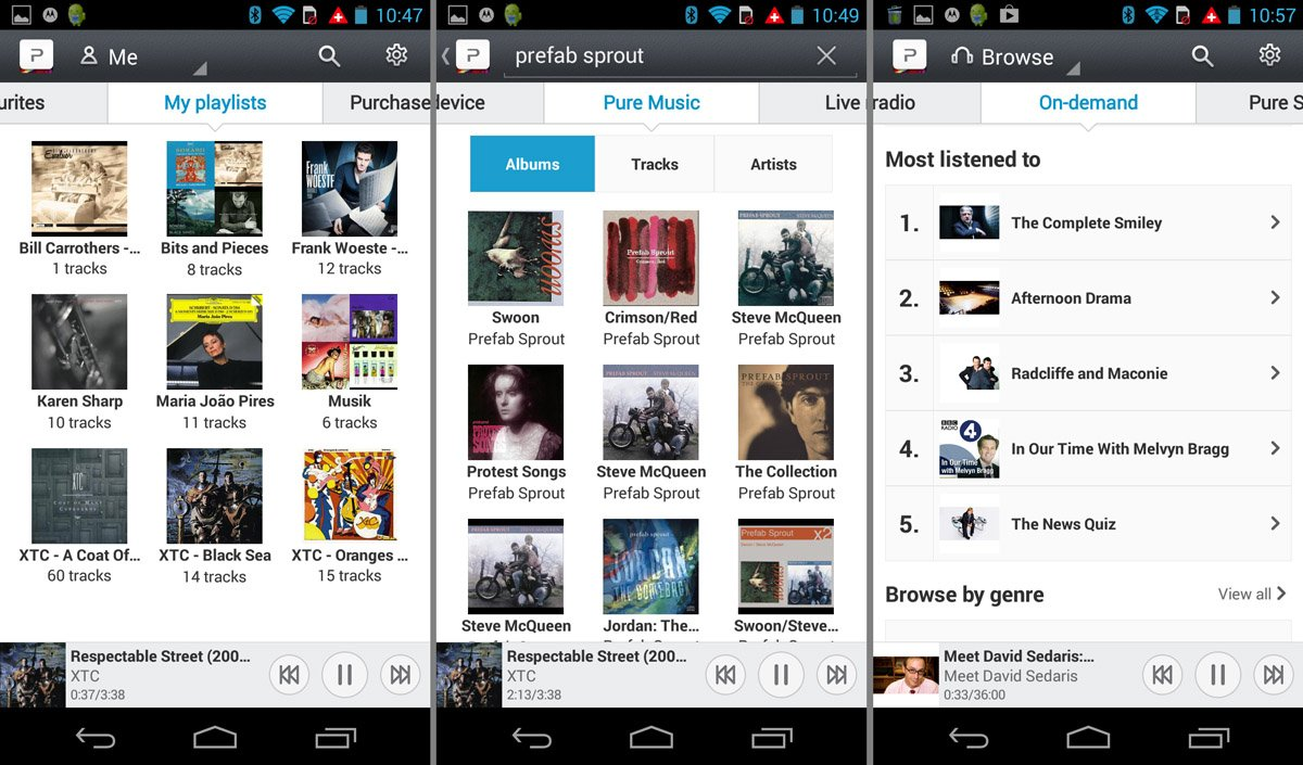 Pure play app for android