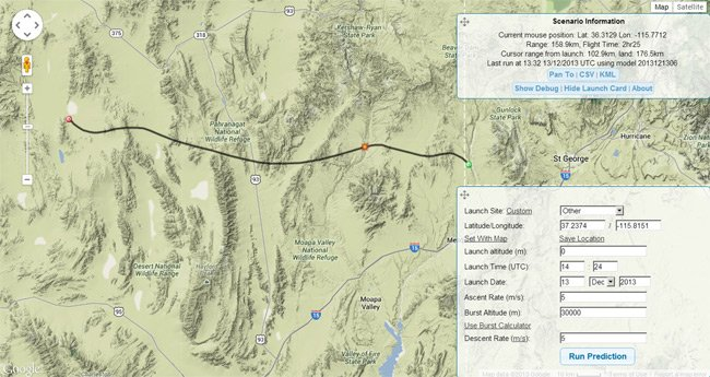 Screen grab showing the predictor flight path from Area 51 overlayed on a map