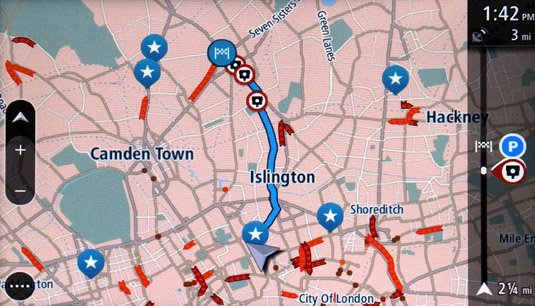 TomTom GO 6000 satnav map route with My Places shown as stars