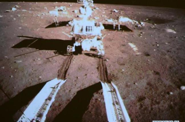 China's Jade Rabbit rover seen from the ramp of its lander