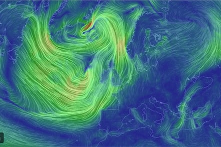 earth view of the wind over the North Atlantic at sea level