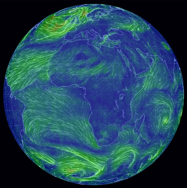 Global wind currents shown on earth