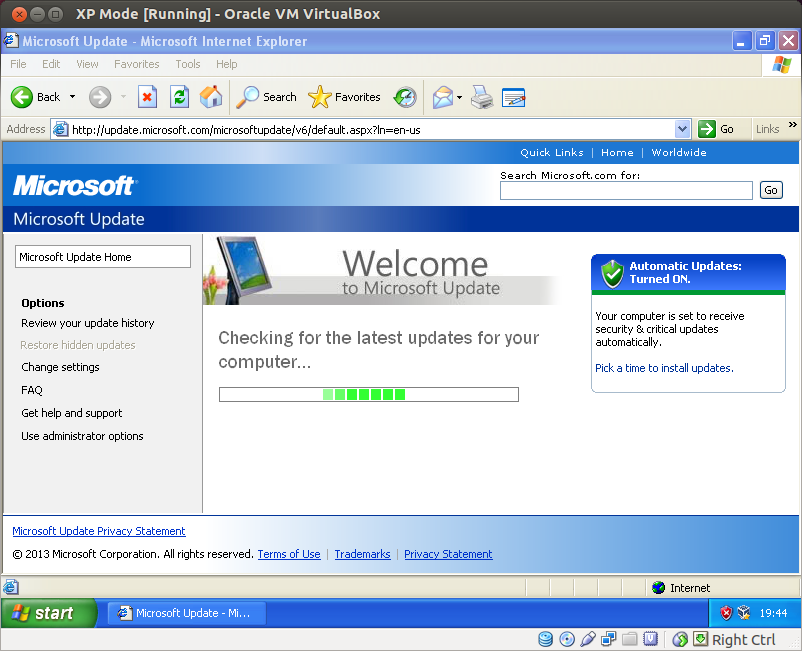 screenshot of windows update for linux