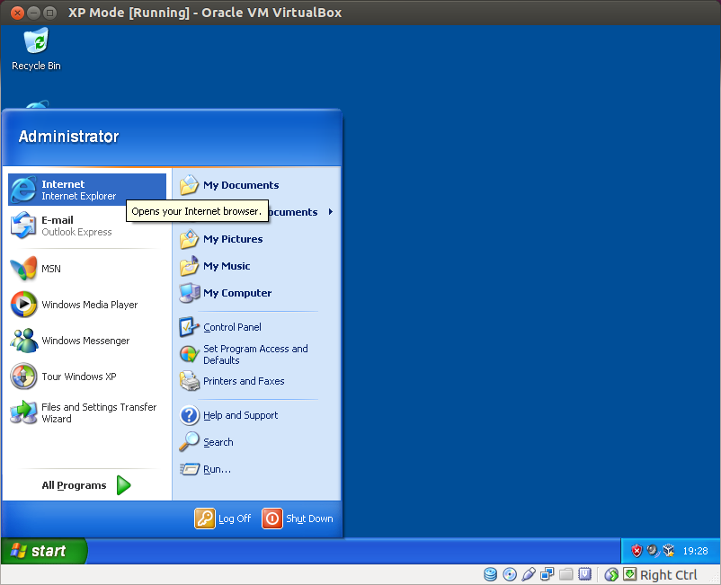 Windows XP mode running on Virtual Box