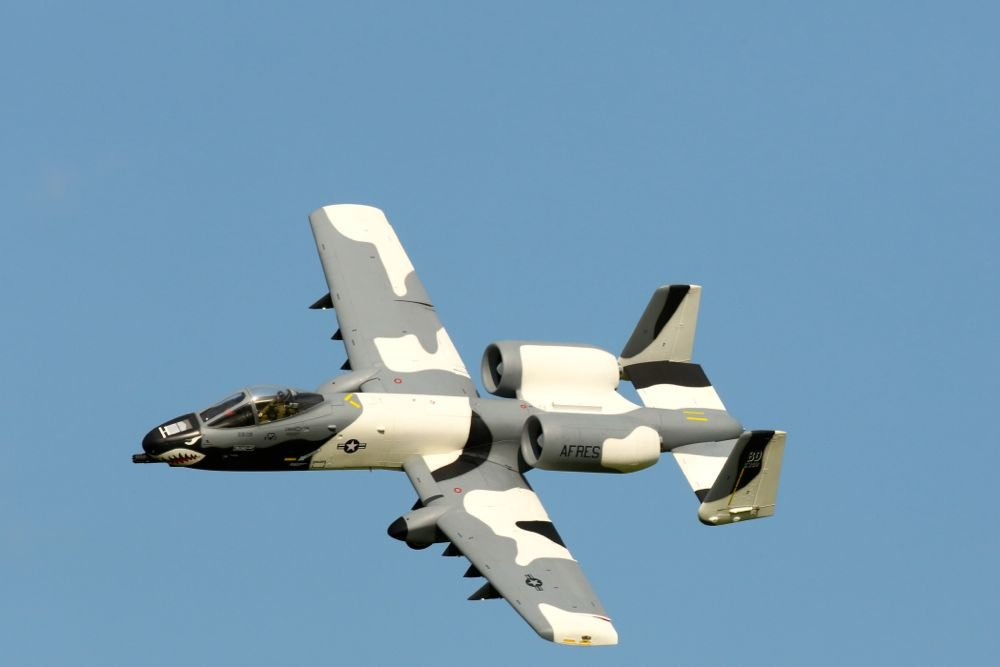 A10 Warthog RC plane in flight