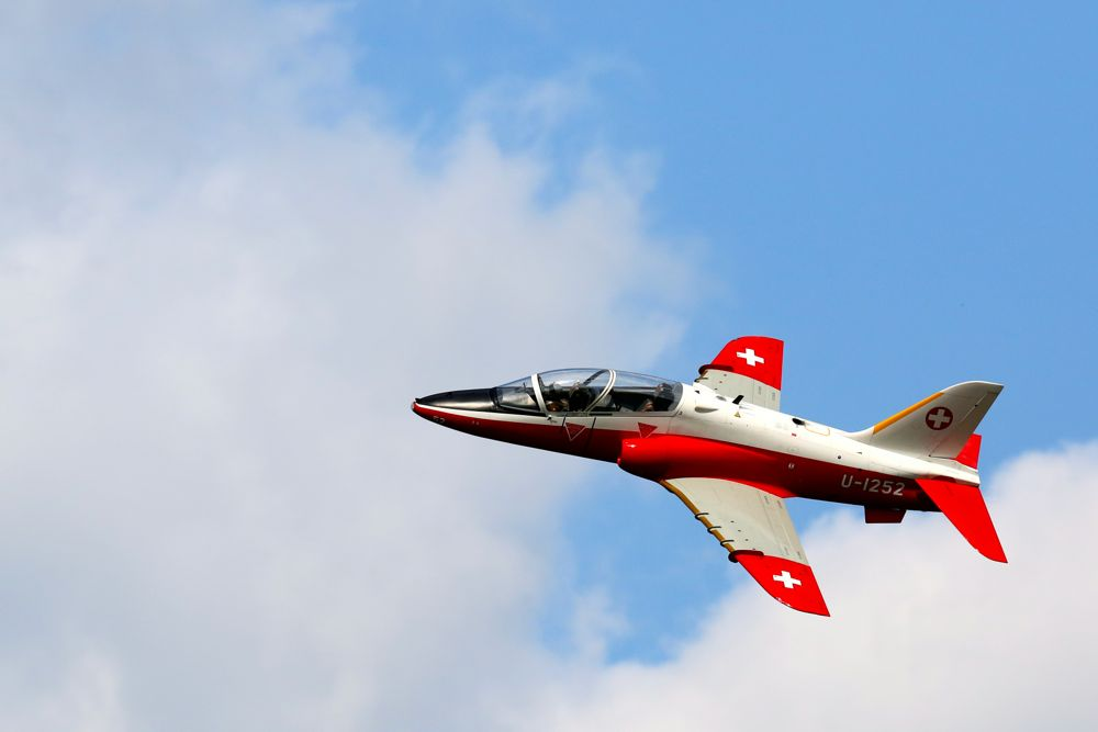 T1 Hawk RC controlled plane in flight