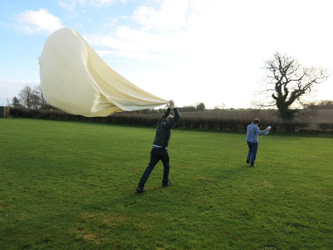 The balloon and payload just before launch