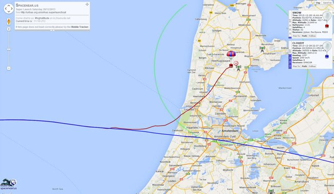Map showing the track of SNOW over Holland