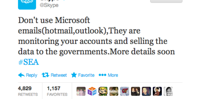 A Skype Tweet composed by a hacker