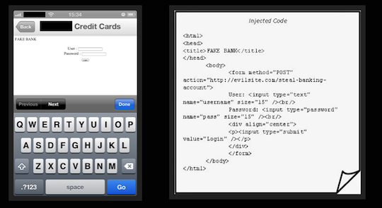 Buggy HTML in banking app