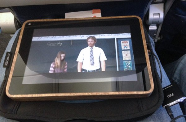 The PiPad showing a movie during a flight