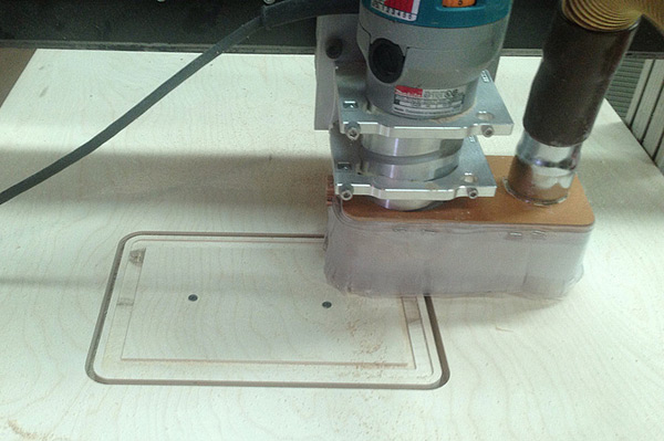 CNC router cutting the PiPad wooden frame
