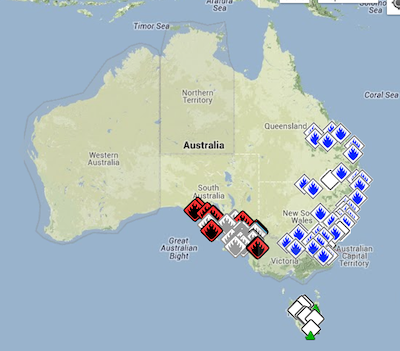 Screenshot of Google Crisis Map