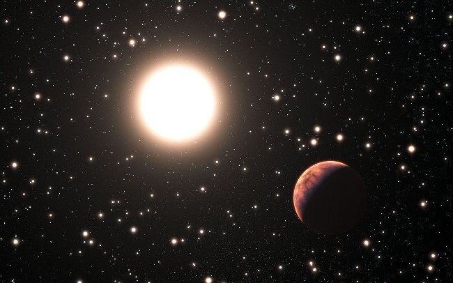 Artist's impression of an exoplanet orbiting a star in the cluster Messier 67