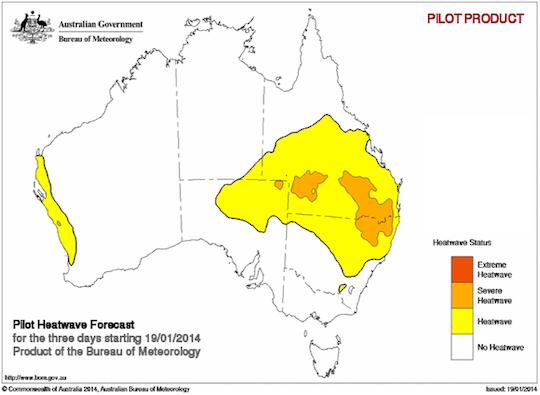 The Bureau of Meteorology's heatwave forecast