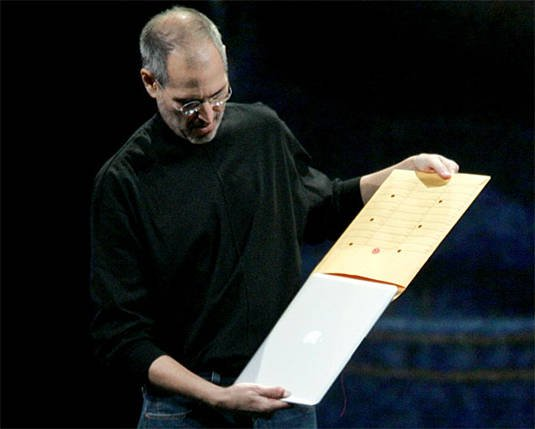 Steve Jobs introduces the MacBook Air by slipping it out of a manilla envelope