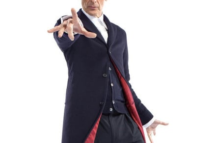 Peter Capaldi in costume as Doctor Who