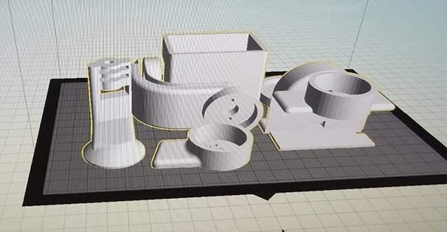 Screen shot showing the Stubilizer parts arranged for printing