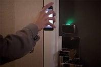 Photo demonstration of a wireless hotel door lock