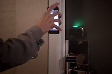 Photo demonstration of a wireless hotel door lock
