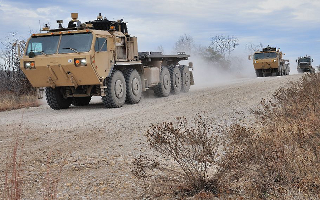 US Army robotised trucks. Credit: Lockheed